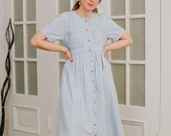 Striped denim dress Vintage 90's casual kaftan blue white short sleeve button up down L Large