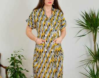 Retro dress Vintage printed mod kaftan secretary short sleeve geometric pattern 60's mod button up down double breasted L Large