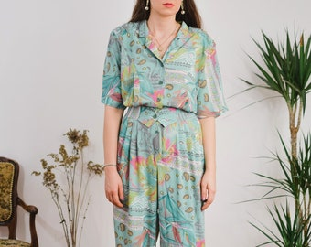 TUZZI Jumpsuit Vintage 80's women printed rainbow Coveralls one piece relaxed fit viscose XXL