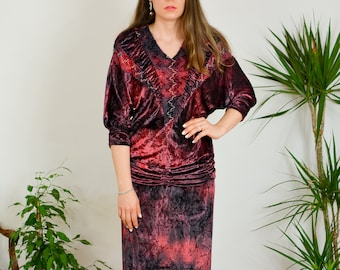 L'COUTURE Bernd Linek Two piece set tie dyed Velvet Vintage 80's blouse and skirt ombre 3/4 sleeve minimalist S/M