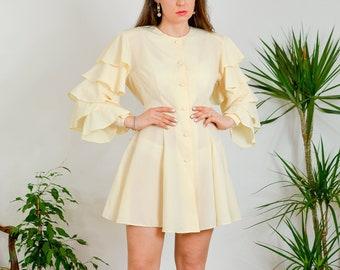 Ecru edwardian style dress Vintage 90s shirtdress hippie frill sleeves white cream french long sleeve M/L