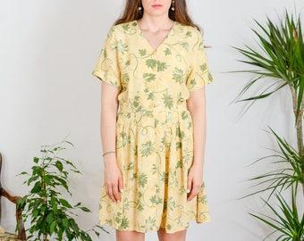 Summer dress Vintage Yellow leaves mini short sleeve prairie Kaftan retro minimalist plants pattern printed button up viscose XL/XXL