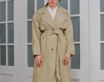 Beige trench Vintage 90's women coat military double breasted minimalist spring autumn belted oversized XL/XXL