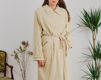Cotton trench Vintage 90's coat beige women double breasted minimalist spring autumn sandy yellow XL/XXL