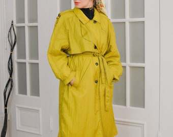 Mustard coat 80's Vintage yellow jacket minimalist trench spring autumn belted women oversized XXL/XXXL