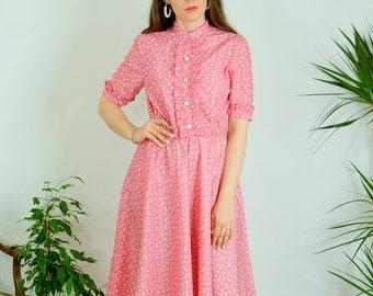 Pink dress mod Vintage Floral dress 70's kaftan short sleeve patterned printed button up M/L