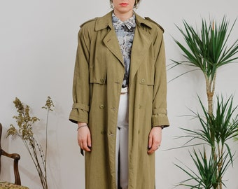 Vintage 80's Trench women coat military green nylon double breasted khakis minimalist spring autumn padded shoulders XL/XXL