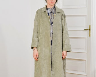 Corduroy coat Vintage 80's cape denim gray minimalist women oversized XXL/XXXL