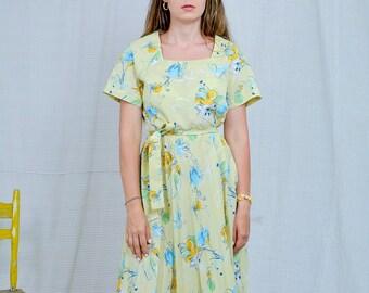 Summer dress Vintage floral pattern Yellow short sleeve prairie Kaftan retro minimalist abstract printed tied waist L-XL