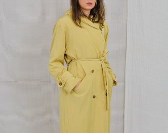 J. Gallery coat yellow trench hooded Vintage 80's sandy minimalist spring autumn french long sleeve women belted L/XL