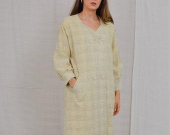 "Retro coat vintage 70s/80's checkered ""Odziez"" sandy yellow women coat minimalist spring autumn bubble oversized M"