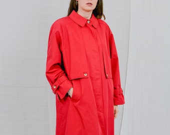 Junesco of Sweden red coat vintage trench 80s padded shoulders pads puffy reglan sleeve minimalist spring autumn french minimalism women XXL