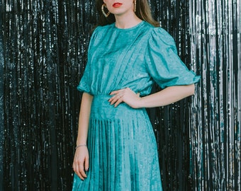 St Michael dress vintage 80s green pleated puffy sleeve metallic bright L/XL