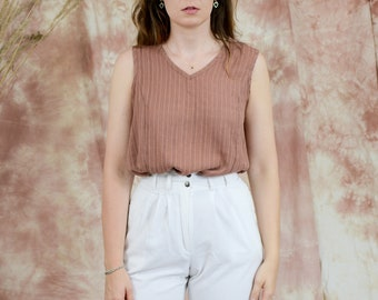 Brown sleeveless top minimalist blouse V neck L/XL