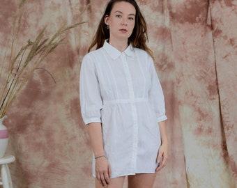 White linen shirt flax tunic 3/4 sleeve minimalist tied waist L/XL