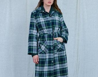 Checkered coat vintage women wool retro tartan green white tied waist spring autumn XL/XXL