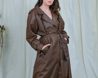 Bronze trench bright B.W. Wernerfelt vintage 80s women coat belted brown minimalist spring autumn XXXL