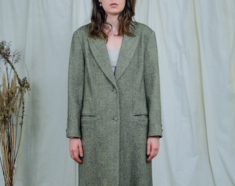 Wool coat vintage 70s/80s green women retro overcoat minimalist XL/XXL