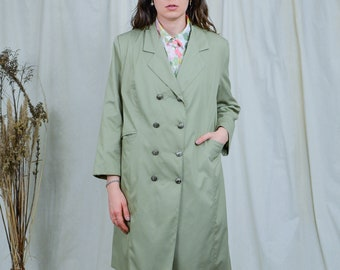 Minimalist coat vintage olive green parka 80s women double breasted spring L Large