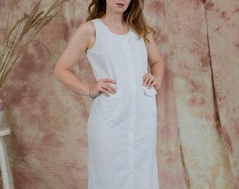 White dress linen button up down pockets summer vintage sun sleeveless M Medium