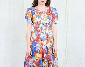 Floral dress multi colour prairie vintage button up down cottage chic rainbow belted summer puffy short sleeves M/L