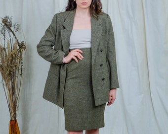 Skirt suit vintage 80s green two piece set jacket Elegance double breasted secretary L Large