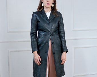 Black leather coat trench overcoat vintage 90s women S Small