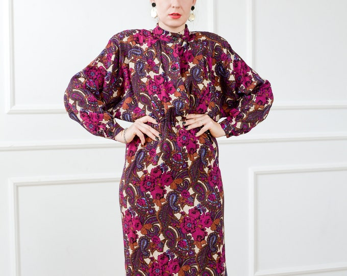 Featured listing image: 80s dress Damina vintage padded shoulders printed apron burgundy paisley floral retro elastic waist reglan long sleeve L/XL
