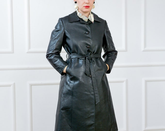 Featured listing image: Black leather trench belted coat vintage overcoat women M Medium