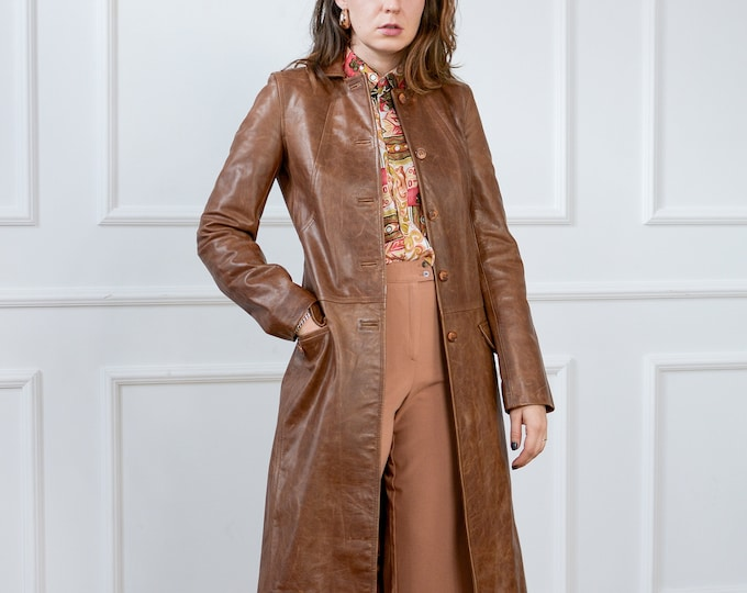 Featured listing image: Brown leather coat bronze caramel trench overcoat vintage women S Small