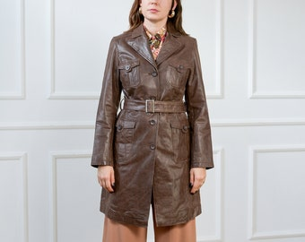 Leather coat bronze Joy trench overcoat vintage women M Medium