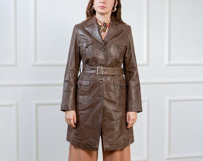 Featured listing image: Leather coat bronze Joy trench overcoat vintage women M Medium