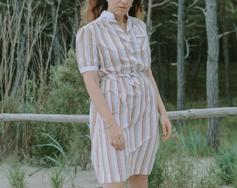 Striped dress vintage 70s/80s minimalist belted sun beige white red button up summer tied waist short sleeves XXL