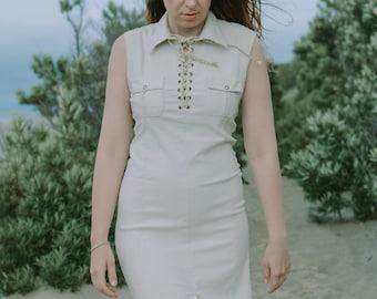Sleeveless dress cream bodycon mini ethinc lacing vintage 90s minimalist casual lace up S