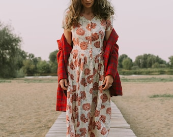 Red poppies dress Prairie Vintage button up down cottage chic floral kaftan summer short sleeves M/L