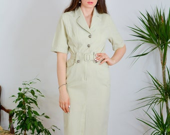 ANDREX Casual cotton dress Vintage 90's fitted minimalist beige safari short sleeve pleated button up belted M Medium
