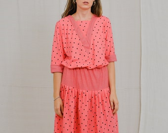 Ever Young dress salmon vintage 60's polka dots pattern Pink kaftan short sleeve patterned dotted printed XXL
