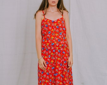 Floral dress Vintage summer red rainbow flowers sun sleeveless XL/XXL
