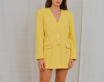 Jose de Wolff Yellow blazer Vintage 80's sun jacket padded shoulders tail coat retro XL