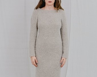 Beige sweaterdress vintage hairy dress long sleeve bodycon minimalist L/XL