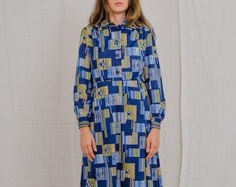 80's Vintage dress long sleeve Kaftan minimalist geometric pattern mod printed blue button up L Large