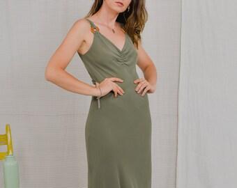 Khaki dress minimalist Casual Vintage 90's hippie green sleeveless L Large