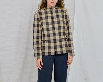 Checkered jacket Wool blazer Cappuccini by Desam Vintage 80's beige tartan jacket women lined retro L/XL