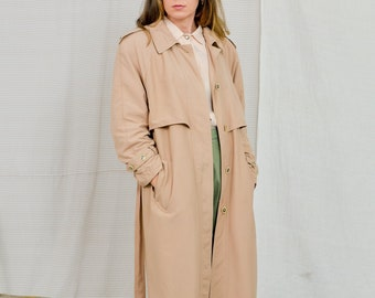 90's Vintage trench coat beige women minimalist tied waist spring autumn XL