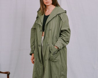 NEW FAST trench Vintage 80's hooded coat military green nylon parka khakis minimalist spring autumn XXL