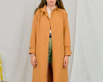 Caramel coat Vintage 90's women trench ginger minimalist orange spring autumn L/XL