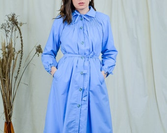 Blue trench coat 80s vintage women minimalist spring S/M