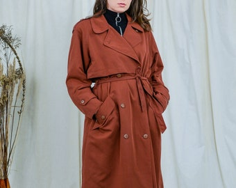Ginger trench vintage red coat 80s women belted brown minimalist spring autumn reglan sleeves XL