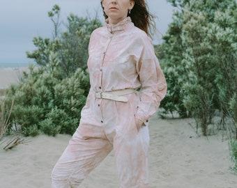 Tie dye jumpsuit vintage nature clothing summer women beige coveralls one piece XL