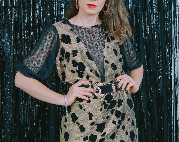 Featured listing image: Leopard party dress vintage 80s gold black lace metallic black mesh puffy sleeve keyhole sheer disco retro mini XL/XXL
